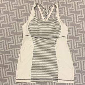 Black and White Striped Lululemon Top with Bra
